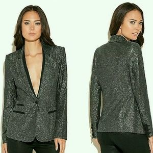 NEW GUESS Connies Silver Shimmer Blazer Jacket
